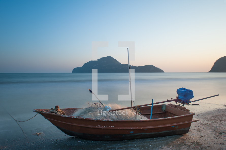 A beached fishing boat