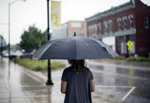 a woman walking with an umbrella in the rain.