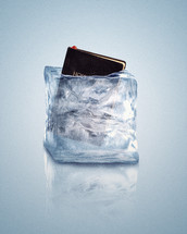 Bible in a frozen block of ice