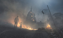 A father and child walk into a destroyed city and government buildings.