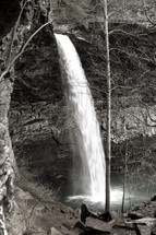 Waterfall surrounded by barren trees