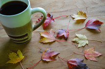 coffee cup and fall leaves