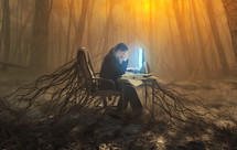 woman rooted to her desk at work