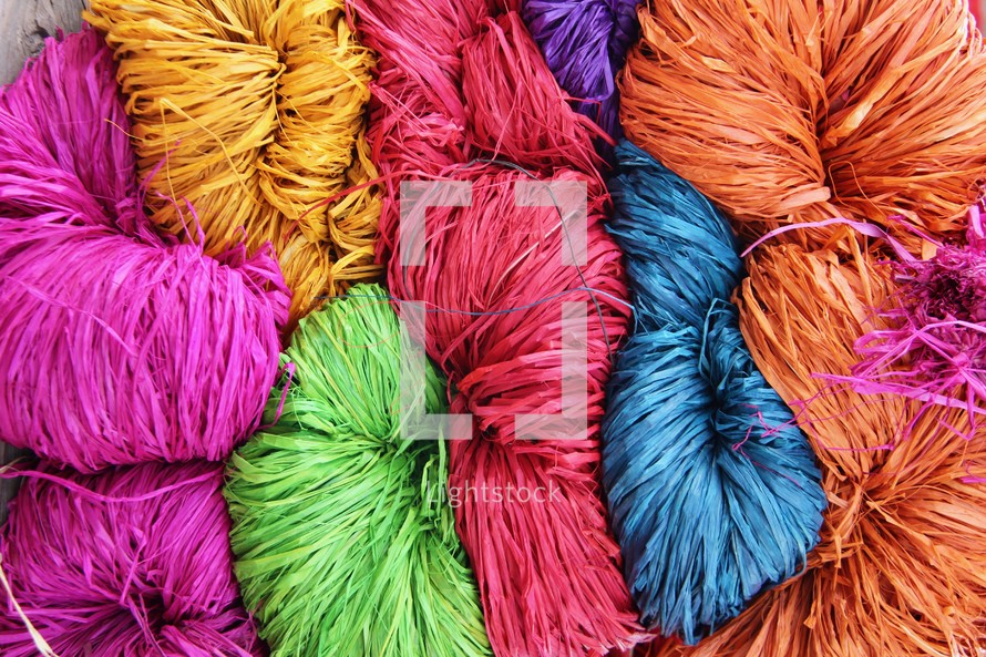 colorful woven straw