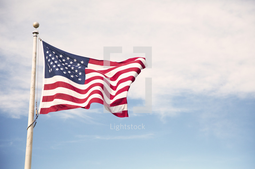 American Flag flying in the wind.