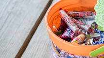 A Halloween themed candy bucket