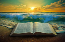 A Bible on the beach