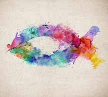 Colorful watercolor Christian fish symbol.