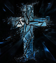 shattered glass cross