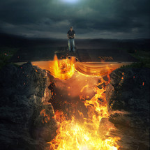 man standing on a burning Bible bridge