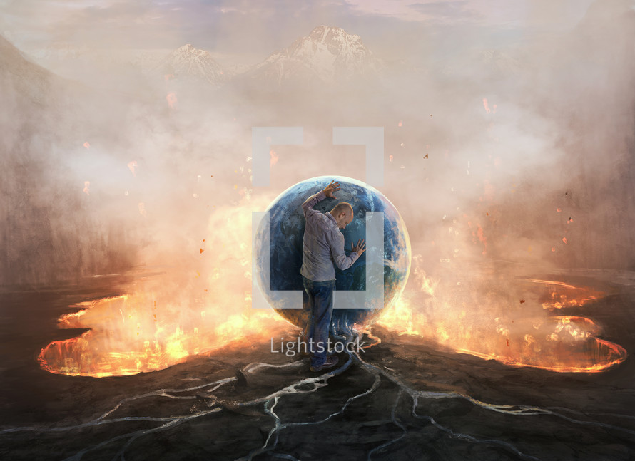 A man resting on the Earth over a pool of fire and lava
