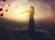 woman playing a violin and music notes