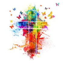 rainbow cross and butterflies