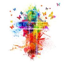 rainbow cross and butterflies