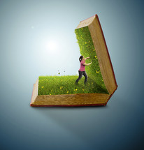 girl pushing open the pages of a Bible