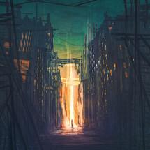 A man walks towards a bright glowing cross in a dark city.