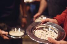 communion tray of bread