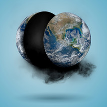 Earth split in half and black smoke