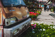 rusty van and flowers lining a city sidewalk