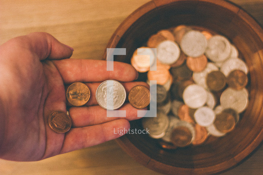 donating coins