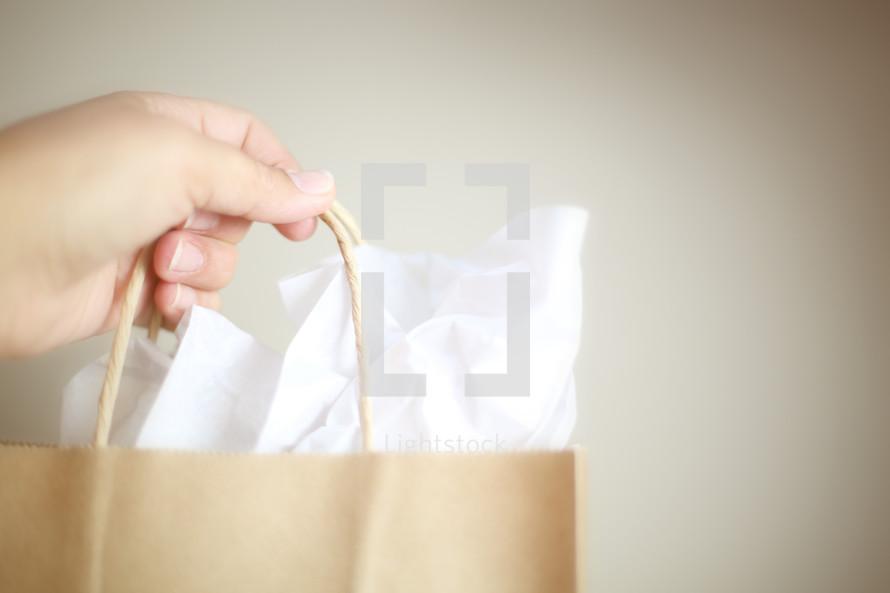 a hand holding up a giftbag