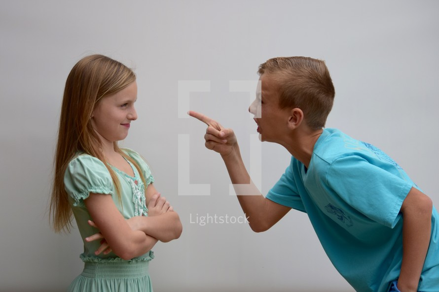 A brother fighting with his sister
