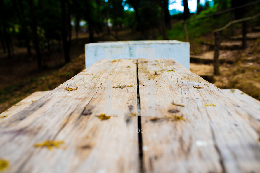 top of a wooden picnic table