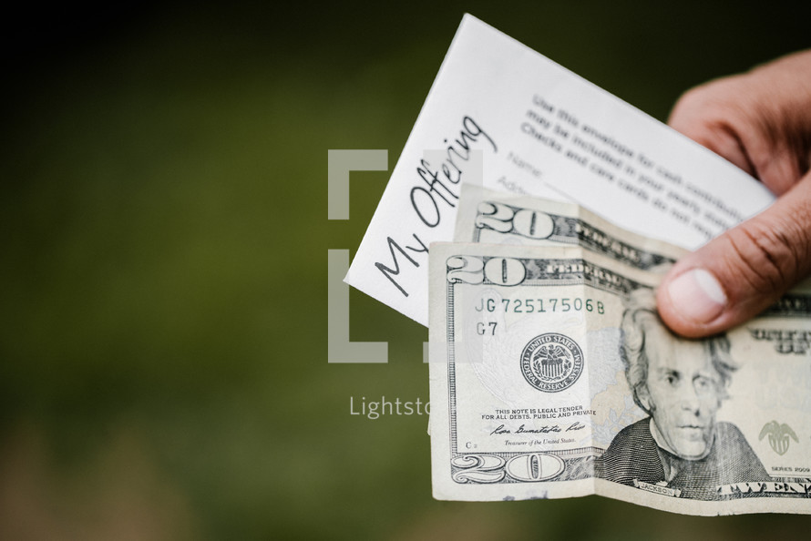 offering envelope of forty dollars in cash