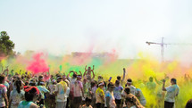 A celebration  of color after a 5K run.