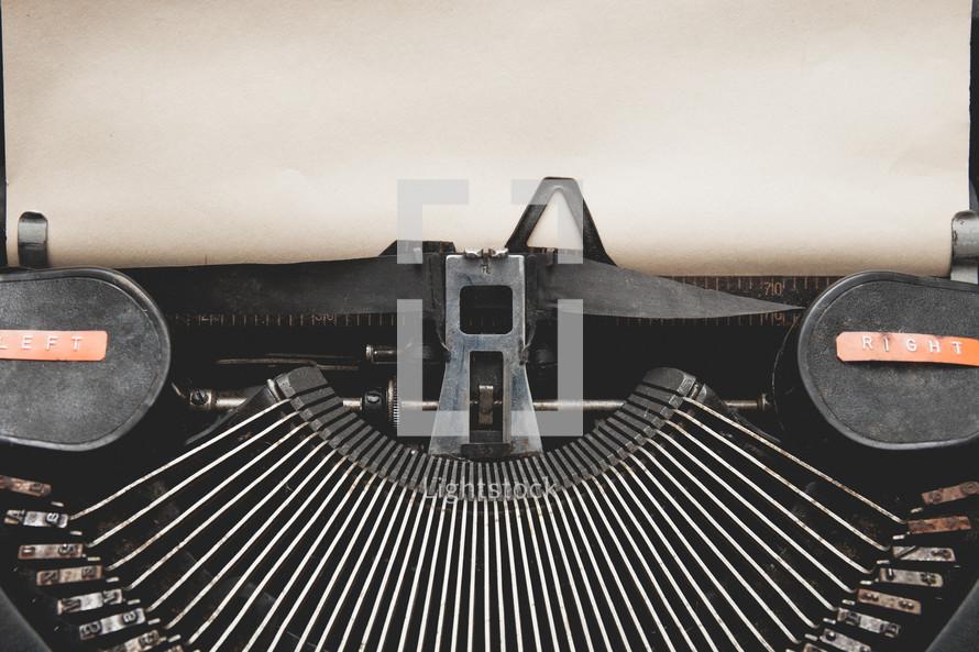 keys on a vintage typewriter