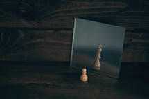 chess pieces in a mirror