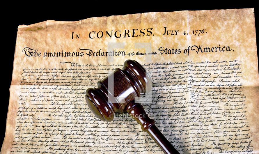 gavel and Declaration of Independence