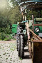 an old farm tractor