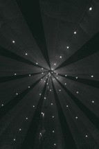 fairy lights in a tent