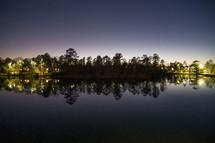 lake shore at night