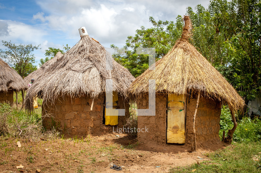 straw and mud huts