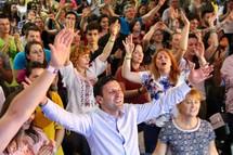 enthusiastic worship at a worship service