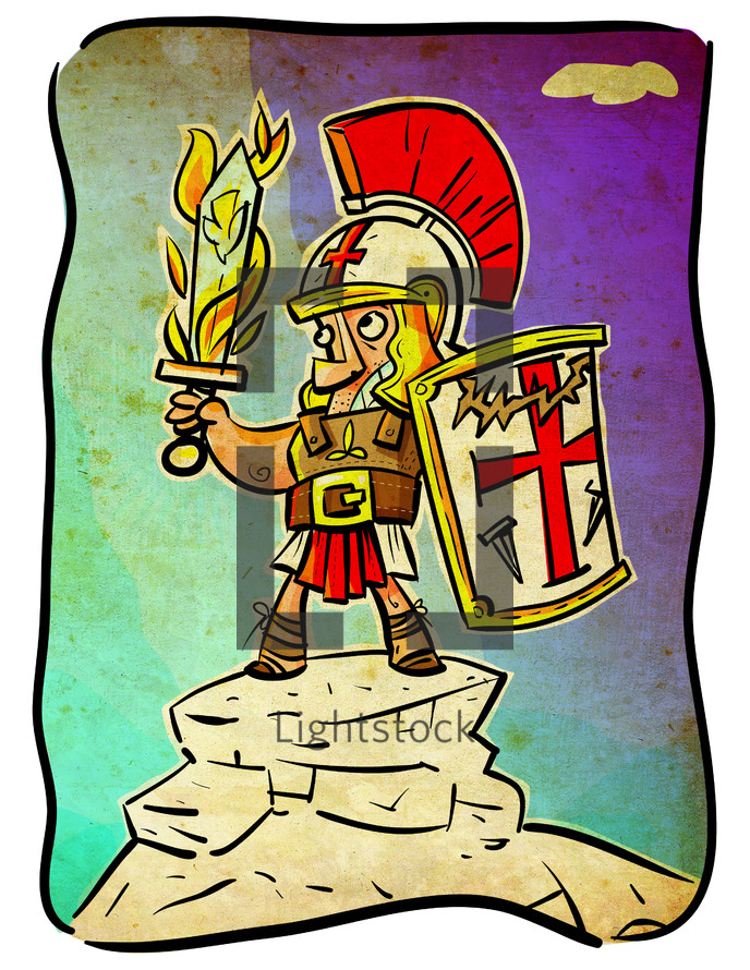cartoon of a soldier in armor