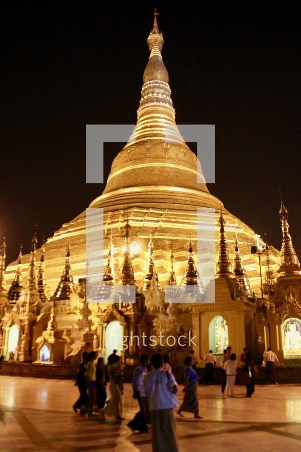 gold temple at night in Yangon, Myanmar
