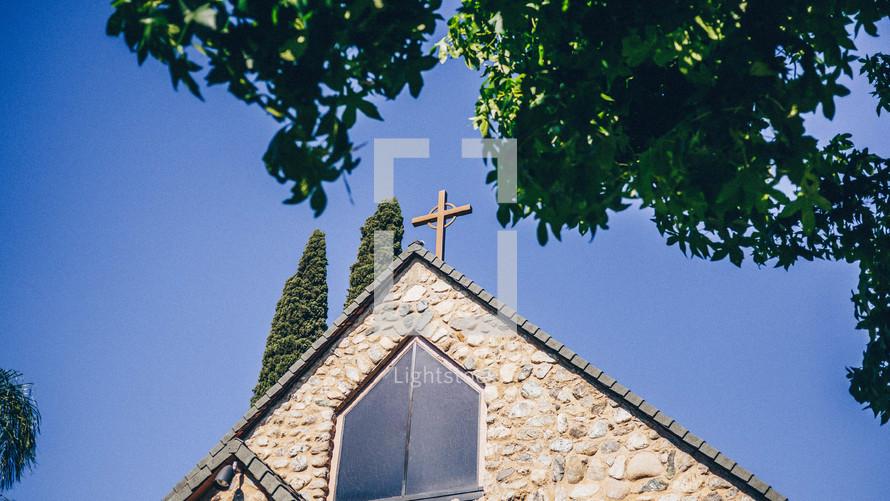 a frame roof on a church