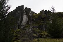 Rugged stone cliffs.