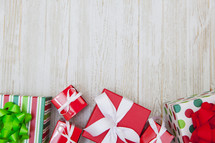 Christmas Gifts Background with Copy Space