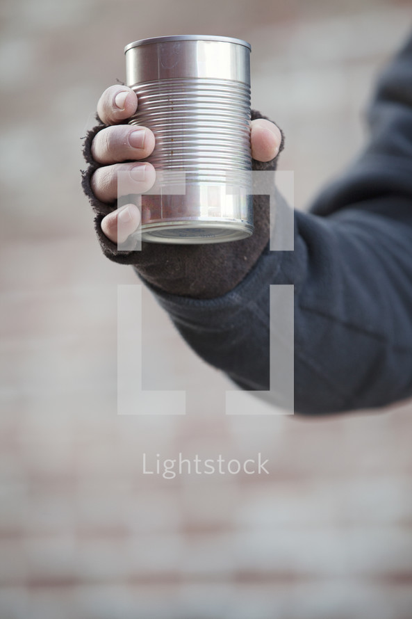 beggar with a tin can