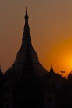 Shwedagon Pagoda, East gate at sunset