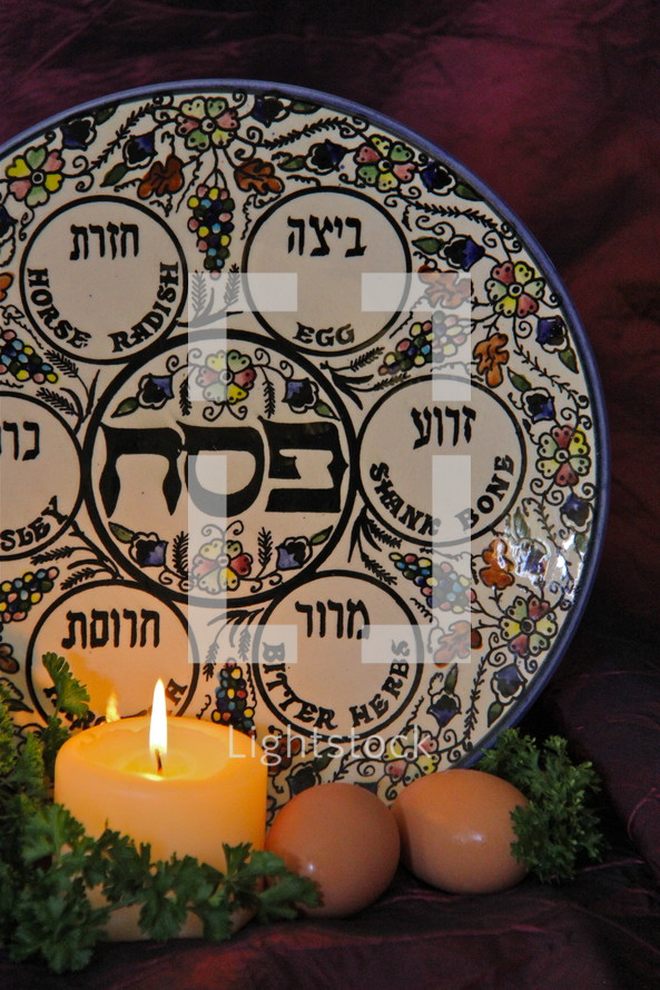 Jewish Passover Seder Plate, parsley and eggs