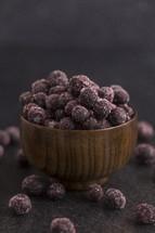 frozen blueberries in a bowl