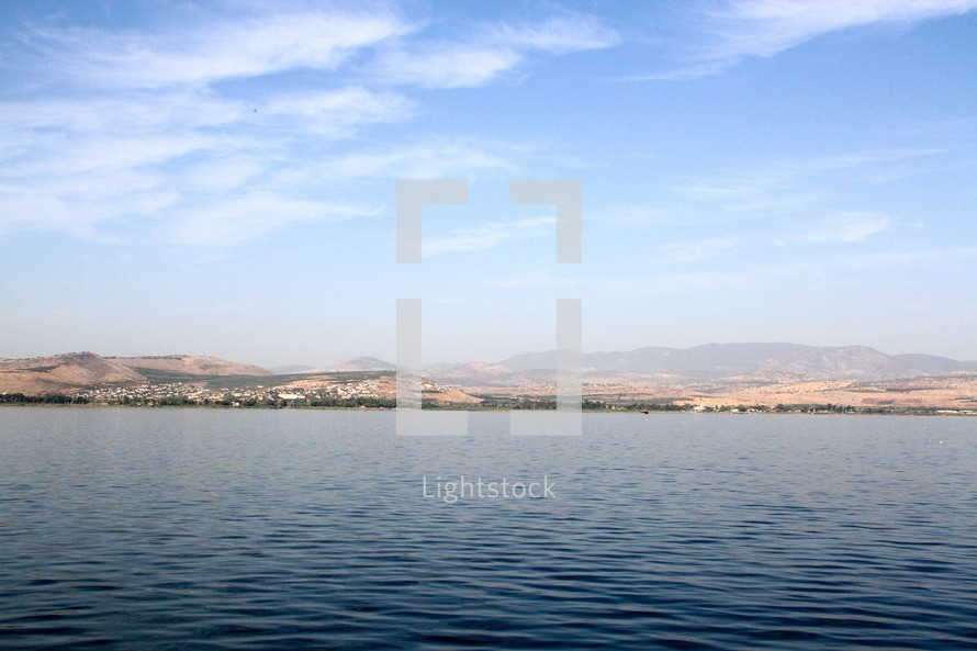 View of Capernaum from the Sea of Galilee.