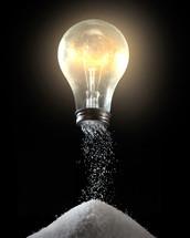 lightbulb and pile of salt