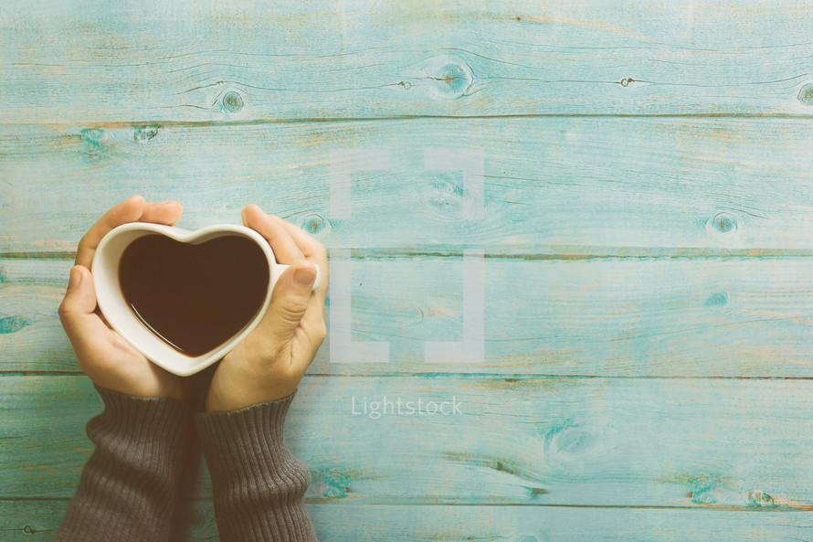 heart shaped coffee mug