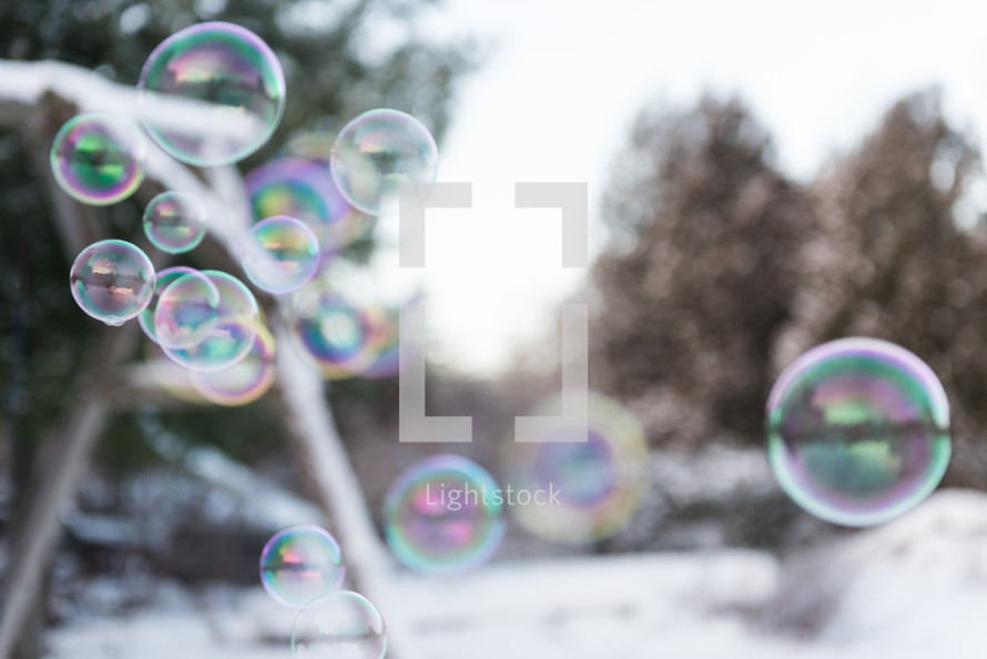bubbles and snow